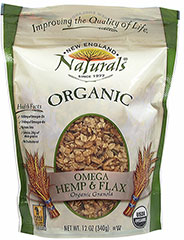 Organic Omega Hemp & Flax Granola <p><b>From the Manufacturer: </b></p><p>Whole grain, healthy, great tasting granola rich with Omegas. </p><p>One serving of this granola contains a tasty 1030 mg of Omega-3s and 2140 mg of Omega-6s. </p> <p>Made with organic whole rolled oats, organic sugar, organic crisp rice with organic rice syrup, organic canola oil, organic tapioca syrup, organic flax seed, organic pumpkin seed, organic hemp seed, or