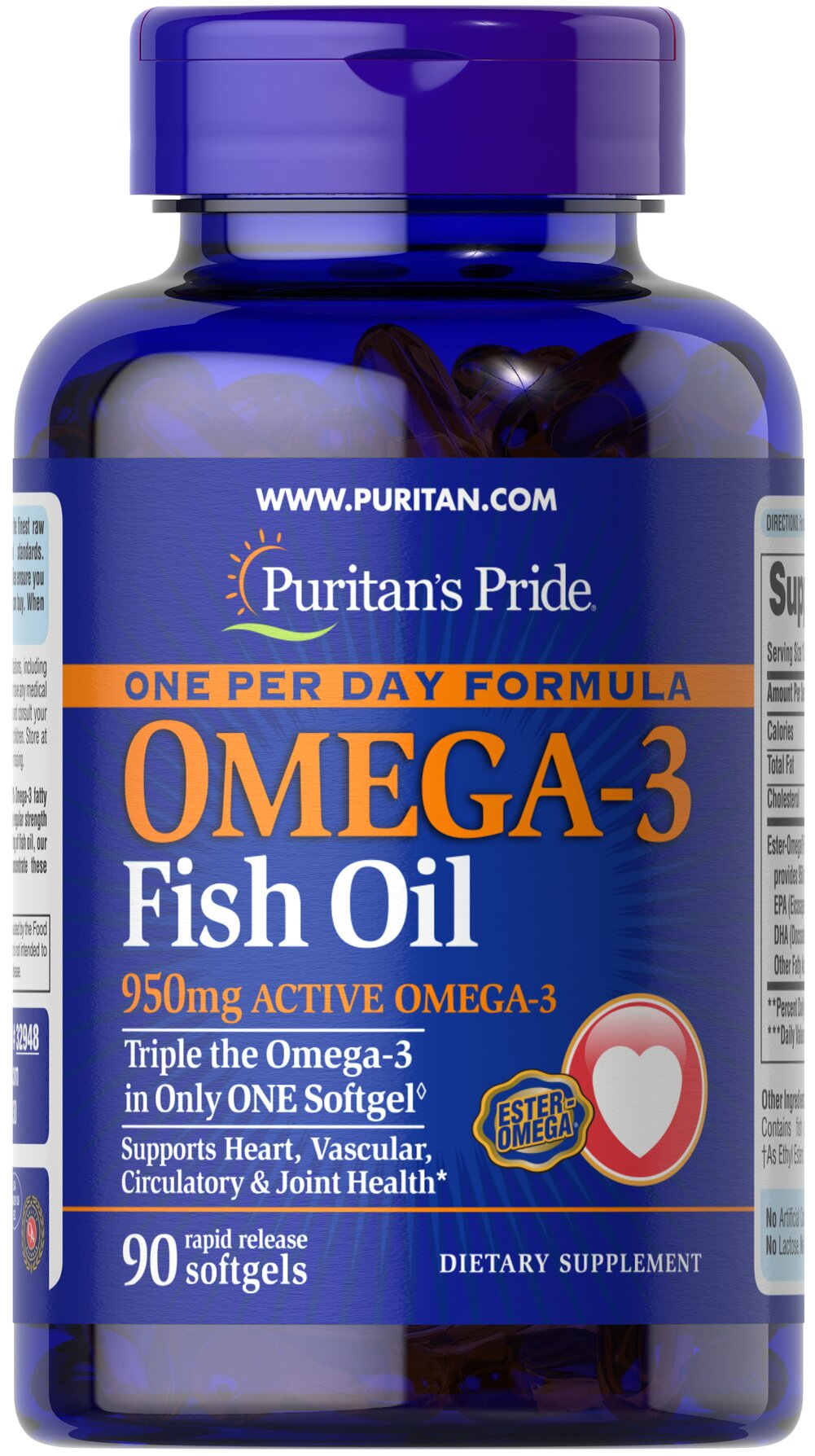 "One Per Day Omega-3 Fish Oil 1360 mg (950 mg Active Omega-3) <p><strong></strong></p>Each softgel contains 950 mg of  total Omega-3 fatty acids. Recent scientific research highlights the importance of getting Omega fatty acids. Fatty acids - Omega-3, Omega-6 and Omega-9 – are the ""good"" fats important for cellular, heart and metabolic health.**  Some of these fatty acids are essential - meaning your body needs them but cannot make them.** Essential Fatty"
