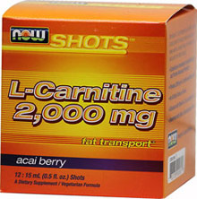 L-Carnitine 2000 mg <p><b>From the Manufacturer's Label: </p></b> <p>Sculpting a lean, fit physique has never tasted so amazing!   Each liquid shot delivers a potent 2,000 milligrams of Carnipure™  L-Carnitine.  500 mg of freeze-dried Acai is included to protect healthy cells, while Pantothenic Acid provides an adrenal kick.  Vitamin B-12 nourishes red blood cells, which supply oxygen to cells.</p> 12 .5 oz Liquid 2000 mg $10.31