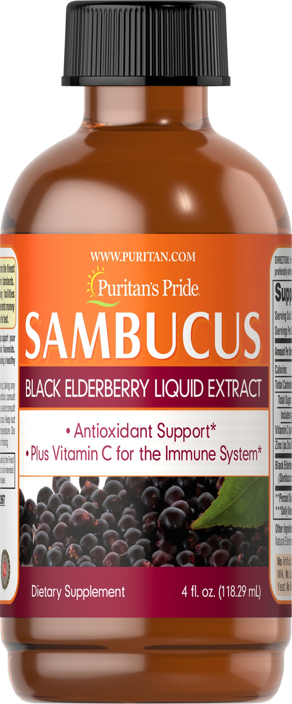 Sambucus Black Elderberry Liquid Extract <p>Antioxidant Support**</p><p>Plus vitamin C for the Immune System**</p><p>Taken every day, Sambucus helps support your overall health and wellness.**  Elderberry contains flavonoids for antioxidant support.**  Vitamin C and Zinc play an important role in maintaining a healthy immune system.**</p> 4 oz Liquid  $13.99