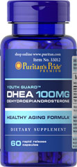DHEA 100 mg <p>DHEA (Dehydroepiandrosterone) is made by the adrenal glands, which are located just above the kidneys and liver. Levels of DHEA can decline with age. Adults can take one capsule daily.</p> 60 Capsules 100 mg $16.49
