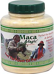 Maca Magic Powder 1500 mg <p><strong>From the Manufacturer's Label:</strong></p><p><em>Maca Magic™ (Lepidium Peruvianum)</em><br /><br />• Perfect For Smoothies! <br />• A Dietary Supplement That Is Naturally Malty To Taste<br /> <br />• Feel the Power of the Inca! <strong> </strong></p> 1.1 lbs Powder 1500 mg $18.99