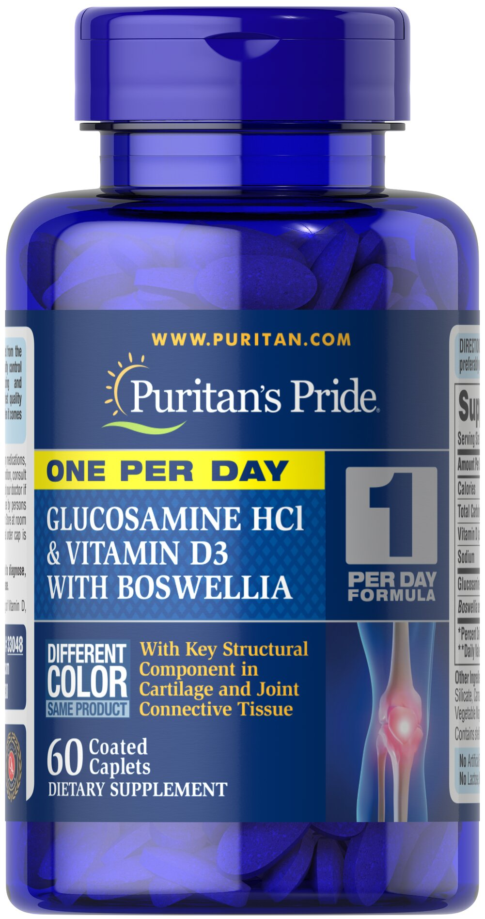 One Per Day Glucosamine, Vitamin D3 & Boswellia  <p>One caplet a day provides powerful support for healthy joints, bones and cartilage**</p> <p>Features Glucosamine to cushion and lubricate the joints, while promoting comfortable joint movement**</p> <p>Helps rejuvenate joint cartilage and support healthy cartilage formation**</p> <p>Includes Vitamin D3 to help maintain bone health and density**</p> 60 Caplets  $19.99