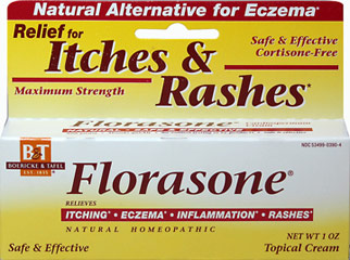 Florasone® Homeopathic Cream <p><strong>From the Manufacturer's Label: </strong></p><p>Natural Homeopathic</p><p>Temporarily relieves itching, eczema, inflammation, rashes</p><p>No animal testing or by-products</p><p>Non greasy – absorbs quickly</p><p> </p><p>Manufactured by Boericke & Tafel</p> 1 oz Cream  $7.49