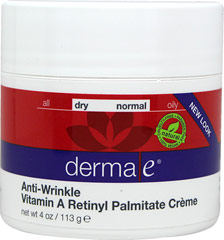 Derma E® Vitamin A Retinyl Palmitate Wrinkle Treatment Crème <p><b>From the Manufacturer's Label: </p></b><p>Derma E® Vitamin A Retinyl Palmitate Wrinkle Treatment Crème helps diminish the appearance of age lines and wrinkles on the skin while leaving it soft, smooth and supple.</p> <p>Vitamin A at high potency (10,000 IU/100 gm) encourages cell renewal, enhancing your skin's youthful appearance.</p> <p>Vitamin E a