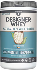 Whey Protein <p><strong>From the Manufacturer's Label: </strong></p><p>High in Calcium. 2g of body protecting glutamine per serving.</p><p>Designer Whey gives you the research proven benefits of its specialized blend of Full Spectrum Whey Peptides™.  Designer Whey contains whey-derived calcium which is essential for bone health and muscle contraction.**</p> 2.1 lb Powder  $24.99