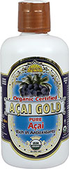 100% Organic Acai Gold <p><strong>From the Manufacturer's Label:</strong><br /></p><ul><li>Rich in Antioxidants</li><li>Organic Certified</li><li>100% Pure Acai <br /></li></ul><p><br />The acai palm trees flourish in the lush rainforests that are fed by the mighty Amazon River. The synergy of the nutrient rich soil and tropical climate guarantee nearly perfect conditions for these berries to thri