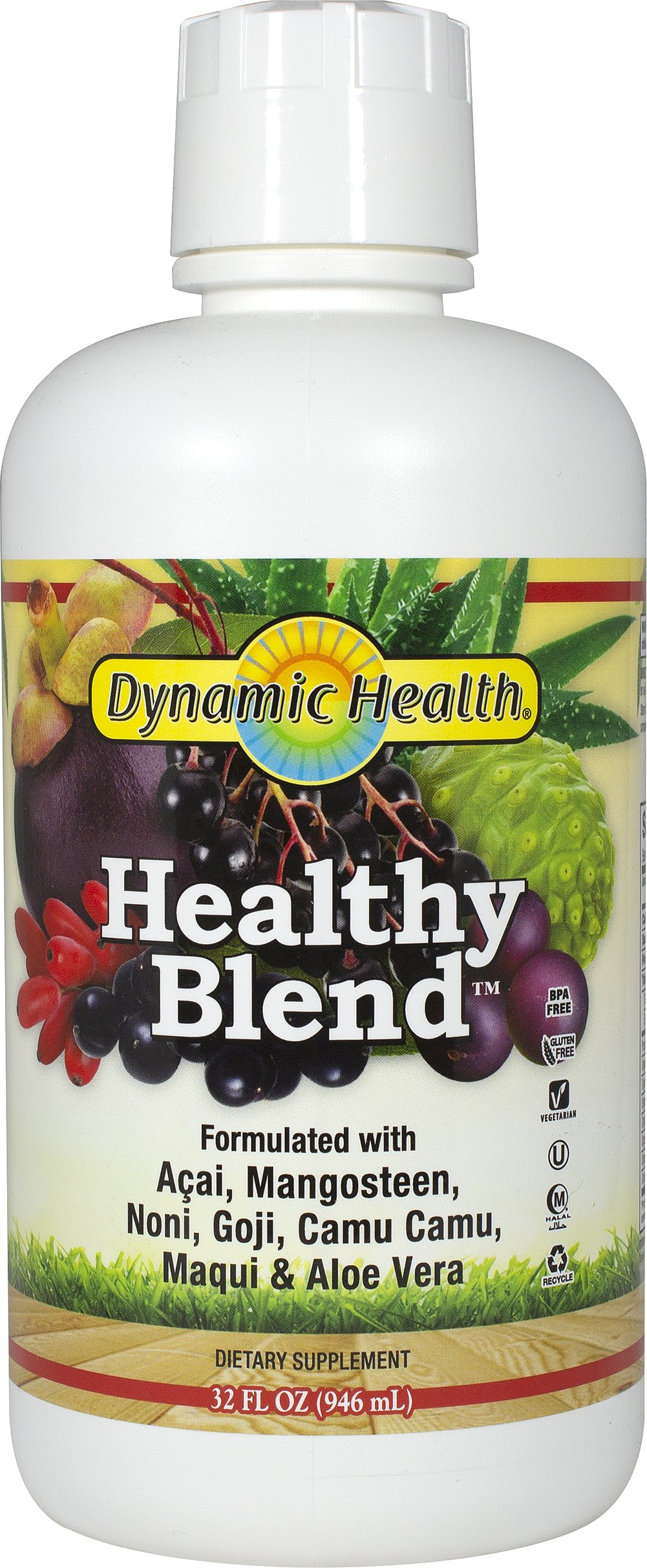 Healthy Blend Superfruit Juice with Camu Camu <p><strong>From the Manufacturer's Label: </strong></p><p>Goji, Mangosteen, Aloe Vera, Acai, Noni, Camu.</p><p>The synergy of these beneficial juice concentrates results in a delicious and nutritious cocktail that is rich in the following: Essential Vitamins ( B-1, B-2, B-3, E and C), Essential Minerals ( Calcium, Potassium, Magnesium, & Phosphorus), Essential Fatty Acids ( Omega-3, Omega-6, Omega
