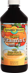 Liquid Vitamin C 1000 mg <p><strong>From the Manufacturer's Label: </strong></p><p>Dynamic Health Liquid Vitamin C with Natural Rose Hips and Bioflavonoids is an easy to swallow dietary supplement.** </p>A powerful Anti-Oxidant source.** <p></p><p>Fast acting liquid formula.**</p>Designed to provide maximum absorption and assimilation.**<p></p><p>Manufactured by Dynamic Health.</p> 16 oz Liquid 1000 mg $6.99