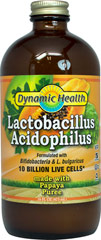 "Liquid Acidophilus Papaya <p><strong>From the Manufacturer's Label: </strong></p><p>Billions of friendly microscopic organisms that comprise the "" Intestinal Flora "" help maintain the proper acidic balance in the intestinal tract. * </p><p>This product is free of preservatives, artificial colors, flavorings, yeast, soy, wheat, starch, sugar.</p><p>Manufactured by DYNAMIC HEALTH</p> 16 oz Liquid 10 billion $4.59"