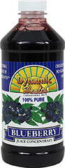 Blueberry Juice Concentrate <p>From the Manufacturer's Label<br /></p><ul><li>100% pure</li><li>A natural source of antioxidants</li></ul><p>Ideal for tropical smoothies fruit cocktails, & as a mixer. A delicious, natural topping for yogurt, ice cream, fruit, pastry and dessert.<br /><br />Manufactured by Dynamic Health.</p><p></p> 16 oz Liquid