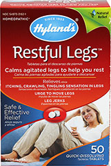 Restful Legs <p><strong>From the Manufacturer's Label: </strong></p><p>Safe & Effective Relief**</p><p>Relieves Leg Jerks, Urge to Move Legs, Itching, Crawling and Tingling Sensation in Legs**</p><p>Calms Agitated Legs to Help You Rest.**</p><p>Manufactured by HYLANDS.</p> 50 Tablets  $7.49