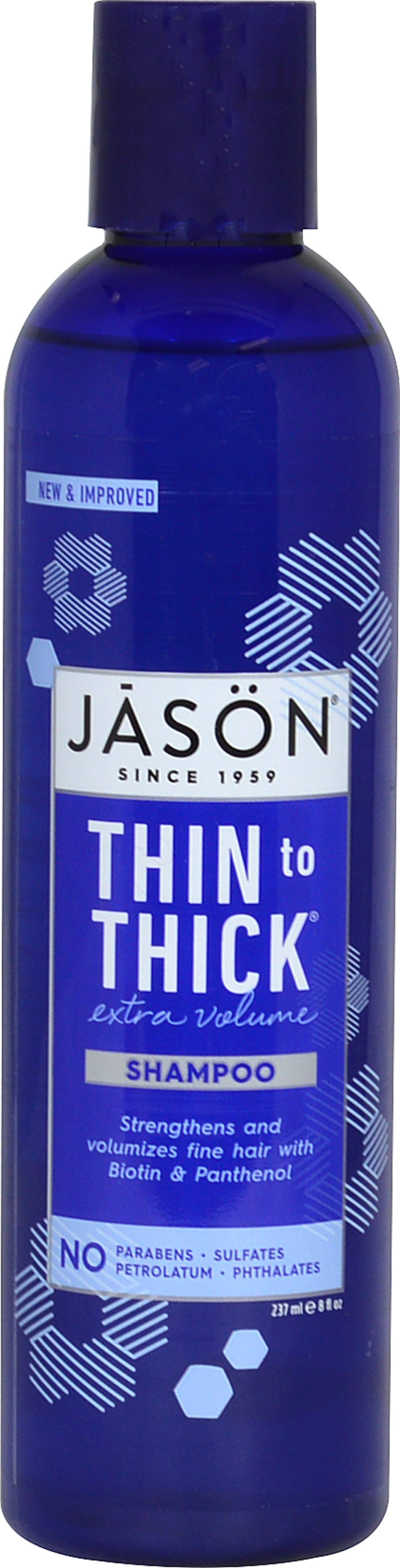 Jason® Thin To Thick® Extra Volume Shampoo <p><strong>From the Manufacturer's Label: </strong></p><p>Jason® Thin to Thick® Extra Volume Shampoo features mild botanical surfactants that gently yet thoroughly cleanse hair and purify the scalp. This body building shampoo coats the hair with Biotin, Panthenol and plant proteins to add extra volume, shine and bounce to fine, limp hair.</p><p>Manufactured by  Jason® Natural Product