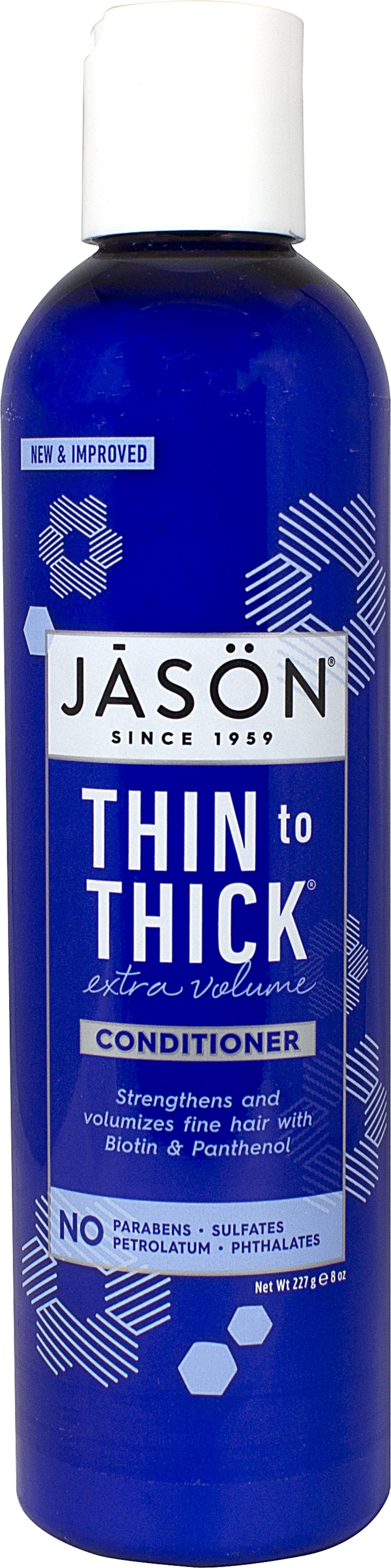 Jason® Thin To Thick® Conditioner <p><strong>From the Manufacturer:</strong></p><p>Healthy Hair System</p><p>Biotin + Panthenol</p><p>Vitamins A, C and E</p><p>Plant Proteins</p><p>Paraben Free</p><p>Jason® Thin to Thick® Extra Volume Conditioner adds bounce, body and shine to fine, limp hair.  This strengthening conditioner combines Panthenol and Biotin with nourishing Vitamins A, C and