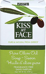 Kiss My Face Pure Olive Oil Bar Soap <p><strong>From the Manufacturer:</strong></p><p>Pure Olive Oil Bar Soap by Kiss My Face is harvested from sun drenched orchards and traditionally crafted into this superbly moisturizing soap. As pure and simple as soap can possibly be!</p><p>Made with only three ingredients: </p><ul><li>Sodium Olivate (Olive Oil)</li><li>Water</li><li>Sodium Chloride</li></ul> 8 o