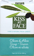 Kiss My Face Olive & Aloe Bar Soap <p><strong>From the Manufacturer's Label:</strong><br /></p><p>- No Phthalates</p><p>- No Artificial Color</p><p>- Biodegradable</p><p>- Gluten Free</p><p>- No Animal Ingredients</p><p>- No Animal Testing</p> 8 oz Bar  $2.59