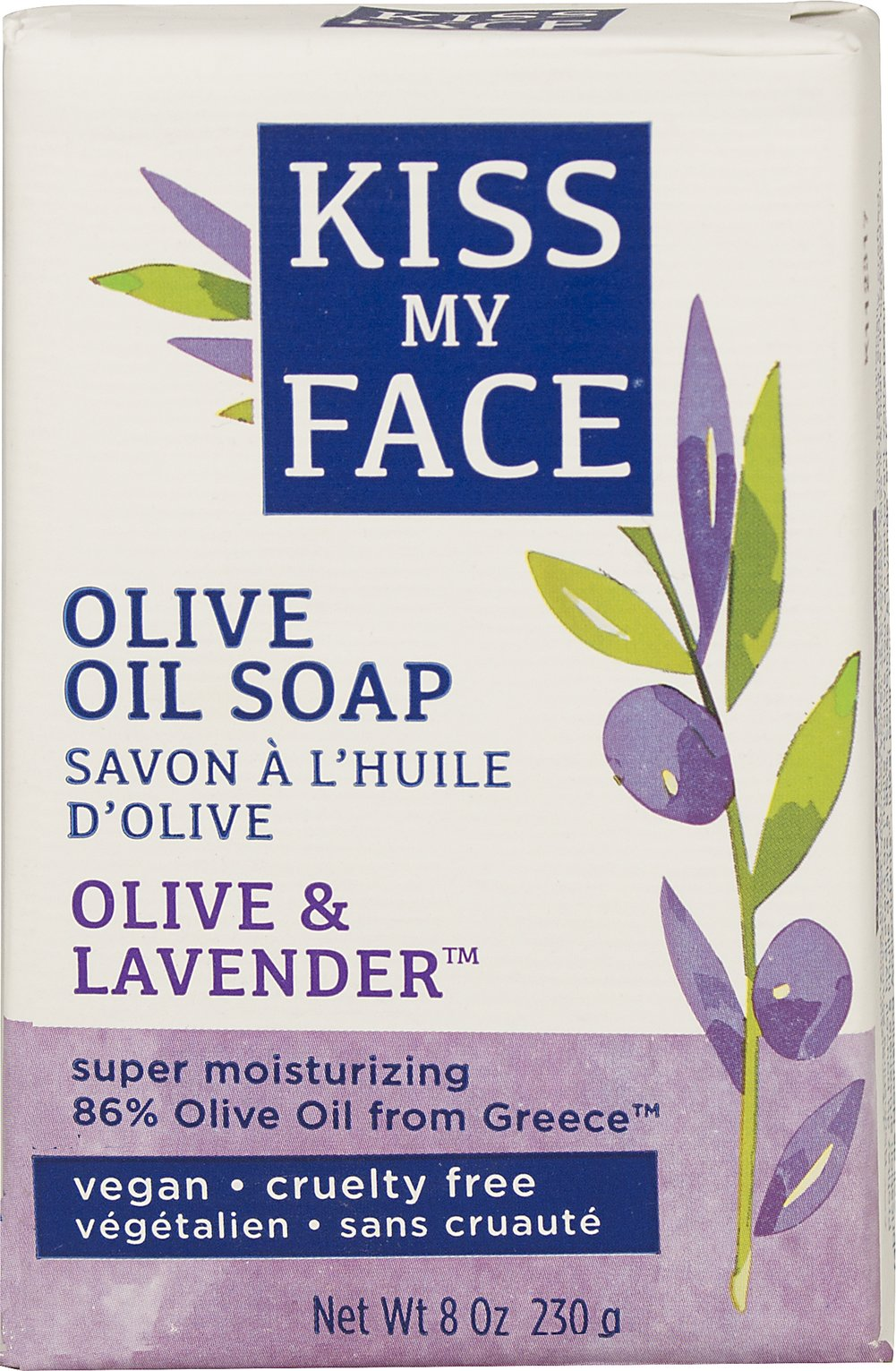 Kiss My Face Olive & Lavender Bar Soap <p><strong>From the Manufacturer's Label:</strong></p><p>- No Phthalates</p><p>- No Artificial Color</p><p>- Biodegradable</p><p>- Gluten Free</p><p>- No Animal Ingredients</p><p>- No Animal Testing</p> 8 oz Bar  $2.59