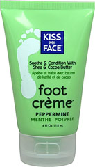 Kiss My Face Peppermint Foot Crème <p><strong>From the Manufacturer's Label: </strong></p><p>Soothes & conditions</p><p>Cocoa, Mango + Shea Butters</p><p>Vitamin E</p><p>Certified Organic</p>Organic Pedicure!  Treat your dry feet to this organic crème and leave them hydrated, soft and healthy.**<p></p><p>Manufactured by  Kiss My Face.</p> 4 fl oz Cream