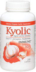 Garlic Extract Immune Formula 103 <p><strong>From the Manufacturer's Label: </strong></p><p><strong>Aged Garlic Extract with:</strong> Ester-C®, Astragalus, and Mushrooms</p><p>Kyolic® begins with 100% organically grown garlic bulbs.**  They are then aged to perfection in a unique extraction process to eliminate odor and create beneficial compounds found only in Kyolic.**</p><p>This combination of vitamins, mushrooms