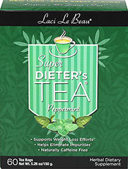 "Super Dieter's Tea® - Peppermint <p><b>From the Manufacturer's Label: </p></b><p>Supports weight loss efforts**</p><p>Helps eliminate impurities</p> <p>Naturally caffeine free</p><p>Laci Le Beau® Super Dieter's Tea® Dieting can be difficult. But it can also be satisfying, especially with the help of this flavorful, all natural Super Dieter's Tea. Laci says, ""My teas have helped a lot of my friends succeed. T"