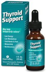 Thyroid Support <p><strong>From the Manufacturer's Label: </strong></p><strong>Providing glandular support for the symptoms of:</strong> Low Energy**, Low Metabolism**, Cold Hands & Feet**, Melancholy** and Restlessness**<p></p><p>NatraBio® is proud to bring you the next era in symptom relief.</p><p>Scientifically developed to deliver fast, effective relief in a quick and convenient tablet, NatraBio® products
