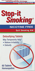 Stop-It Smoking Tablets <p><strong>From the Manufacturer's Label: </strong></p><p>Relieves Irritability</p><p>Helps Detoxify</p><p>Detoxifying tablets reduce nicotine withdrawal symptoms and nervous tension associated with cessation of tobacco use.**  It also helps to detoxify from tobacco use.**</p><p>Manufactured by NATRA BIO. </p> 60 Tablets  $6.36
