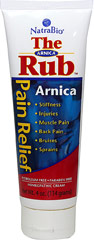 Arnica Rub <p><strong>From the Manufacturer's Label: </strong></p><p>Stiffness, Injuries, Aching Muscles, Back Pain, Bruises, Sprains.**</p><p>For sore muscles and Injury treatment**</p><p>Manufactured by NATRABIO.</p> 4 oz Cream  $8.99