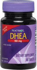DHEA 50 mg <p><strong>From the Manufacturer's Label: </strong></p><p>Found naturally in the body, DHEA (Dehydroeplandrosterone) usually reaches peak levels in early adulthood, then steadily decreases every year afterward.</p><p>Natrol DHEA contains the highest quality available in supplement form.</p> 60 Tablets 50 mg $7.00