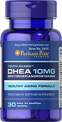 DHEA 10 mg <p>DHEA (Dehydroepiandrosterone) is made by the adrenal glands, which are located just above the kidneys and liver. Levels of DHEA can decline with age. Adults can take one tablet daily.</p> 30 Tablets 10 mg $3.99