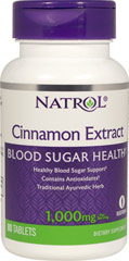 Cinnamon Extract 1000 mg <p><strong>From the Manufacturer's Label: </strong></p><p>Cinnamon has long been treasured for its exquisite flavor and aroma and now Natrol Cinnamon Extract helps maintain healthy blood sugar levels already within the normal range.**</p> 80 Tablets 1000 mg $4.79