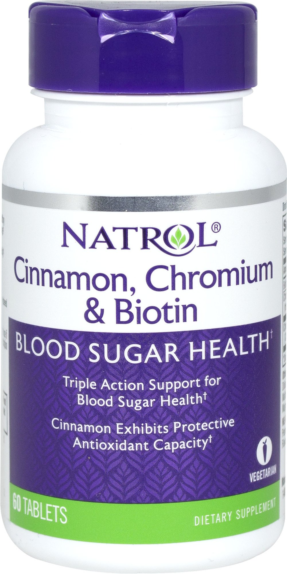 Super Cinnamon Complex with Chromium & Biotin <p><strong>From the Manufacturer's Label:</strong></p><p>Natrol Cinnamon Biotin Chromium provides a powerful, triple action formula of Cinnamon, Biotin, and Chromium Picolinate to support sugar, protein, and fat metabolism and help maintain blood sugar levels already within the normal range.<strong></strong></p> 60 Tablets  $7.99