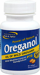Oreganol™ P73 <B>From the Manufacturer's Label:</B><P>NAH&S was the first to develop and edible oregano oil blend - all others are imitations.  Oreganol P73 is made from the original wild, high-mountain Mediterranean oregano.  It is ony handpicked from remote regions which are pollution and pesticide free.  Each Oreganol P73 gelcap contains six drops of the original mountain blend.</P>  60 Softgels  $20.99