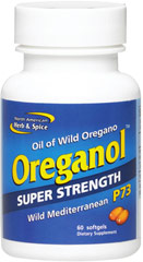 Super Strength Oreganol P73 <p><strong>From the Manufacturer's Label:</strong></p><p>Oreganol P73 SUPER STRENGTH is made from the original wild, high-mountain Mediterranean oregano. It is only handpicked from remote pristine regions which are pollution and pesticide free. Each Oreganol P73 SUPER STRENGTH gelcap contains six drops of the original mountain blend.</p><p>Manufactured by North American Herb & Spice Company</p> 60 Softgels  $