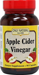 Apple Cider Vinegar 500 mg <p><strong>From the Manufacturer's Label: </strong></p><p>For over 2000 years, Apple Cider Vinegar was known to have healing and cleansing powers.**</p><p>Apple Cider Vinegar is rich in potassium and enzymes, which helps promote digestion and ph balance.*</p><p>Manufactured by ONLY NATURAL.</p> 90 Capsules 500 mg $9.79