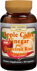 Apple Cider Vinegar Plus Grapefruit Rind & Cayenne <p><strong>From the Manufacturer's Label: </strong></p><p>Apple Cider Vinegar, Cayenne, & Grapefruit Rind. </p><p>Manufactured by ONLY NATURAL.</p> 90 Capsules 700 mg $24.99
