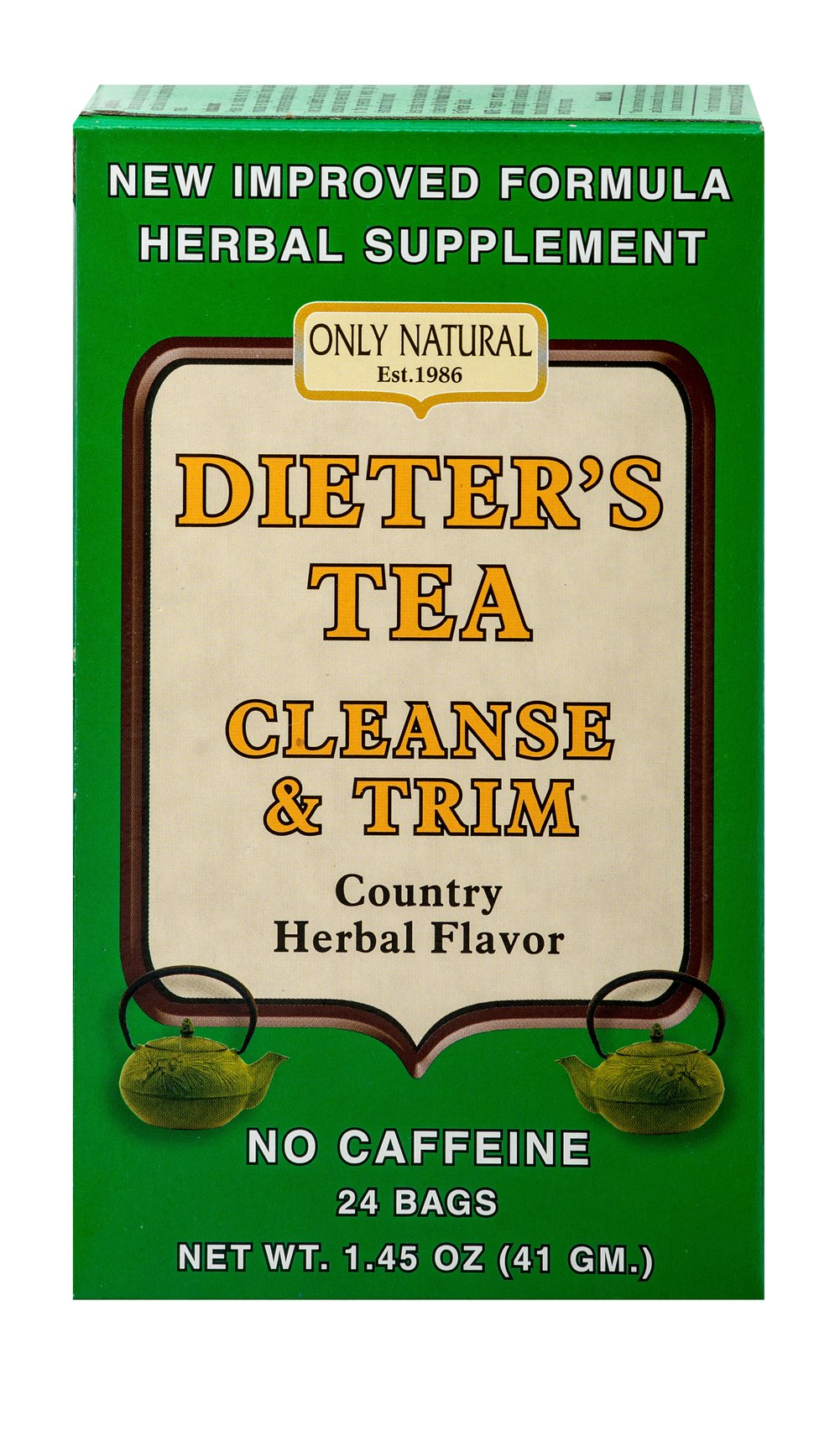 Dieter's Tea Cleanse & Trim <p><strong>From the Manufacturer's Label: </strong></p><p>Dieter's Tea Cleanse & Trim from Only Natural has a country herbal flavor, a new and improved formula, and is caffeine free. The herbs combined in this tea include Senna, Uva Ursi, and Alfalfa, which are carefully selected for your benefit. Feel wondeful after drinking this delicious tea!<br /></p> 24 Tea Bags  $10.99