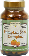 Pumpkin Seed Complex 700 mg <strong>From the Manufacturer's Label:</strong><br /><br />Pumpkin Seed Complex is manufactured by Only Natural. 90 Capsules 700 mg $14.99