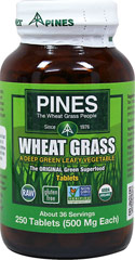 Wheat Grass 500 mg <p><strong>From the Manufacturer's Label: </strong></p><br />A naturally balanced source of vitamins, minerals, amino acids, dietary fiber, chlorophyll, and carotenoids.<br />Pines Wheat Grass is a food with such a naturally high concentration of nutrients that one rounded teaspoon is equal to a large serving of a deep green leafy vegetable.** 250 Tablets 500 mg $12.99