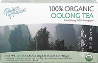 Organic Oolong Tea <p><strong>From the Manufacturer's Label: </strong></p><p>Oolong is semi-fermented, combining the best qualities of black and green teas. Prince of Peace® Oolong Tea is completely hand picked, delightfully aromatic with a mild flavor and bright golden color.</p> 100 Tea Bags  $14.99
