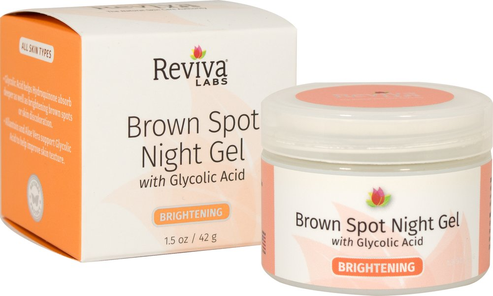 Reviva® Labs Brown Spot Night Gel with Glycolic Acid <p><strong>From the Manufacturer's Label: </strong></p><p>Adding Glycolic Acid to our special blending of Hydroquinone (the lightening ingredient), makes this a stronger formula for lightening brown spots or discoloration. Glycolic Acid helps Hydroquinone be absorbed deeper as well as helping lighten spots by itself. Plus, allantoin and aloe vera support glycolic acid to help improve skin texture.</p&g