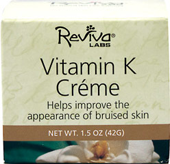 Reviva® Labs Vitamin K Cream <p><strong>From the Manufacturer's Label:</strong></p><p><strong>For all Skin Types</strong></p><p>Recent research has proven that Vitamin K, in the proper formulation, can dramatically minimize the look of bruised or reddened skin.  Our special formula helps improve appearance of broken capillaries, spider veins, and any reddened, irritated areas on the face. </p><p>Manufactured by  Reviva®