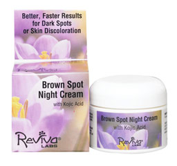 "Reviva® Labs Brown Spot Night Cream with Kojic Acid <p><strong>From the Manufacturer's Label: </strong></p><p>Natural Refined Vegetable Oil Base Aids Absorption!  Unique blending of this cream's ""base"" allows the super lightening agent, Kojic acid, to produce even quicker action on age spots, or any skin discoloration.</p>With consistent use each evening on face, hands or body,  you start to see a fading of spots in 4 weeks or sooner.**&"