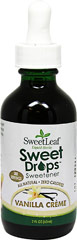 Stevia Liquid Extract Vanilla Crème <p><b>From the Manufacturer's Label:</b></p> <p>Stevia Liquid Vanilla Crème is manufactured by Sweet Leaf.</p> 2 oz Liquid  $10.99