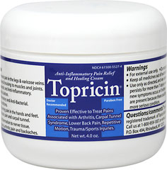 Topricin® Cream Jar <p><strong>From the Manufacturer's Label: </strong></p><p><strong>Proven Effective to Treat:</strong> Carpal Tunnel Syndrome, Repetitive Motion, Trauma, Sports Injuries, Arthritis and Lower Back Pain.**</p><p>Anti-Inflammatory Pain Relief Cream.**</p><p>Manufactured by Topical Biomedics, Inc</p> 4 oz Cream  $19.96