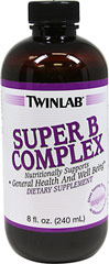 Super Vitamin B Complex Liquid <p><strong>From the Manufacturer's Label: </strong></p><p>Twinlab's Super B complex is a pleasant tasting liquid formula for more efficient digestion, absorption, assimilation and utilization.  Super B Complex contains ingredients such as Thiamin, B12, Riboflavin and B6, which help support general health and well being.** Super B Complex contains no preservatives, artificial colors or flavors and there is no fructose, honey or