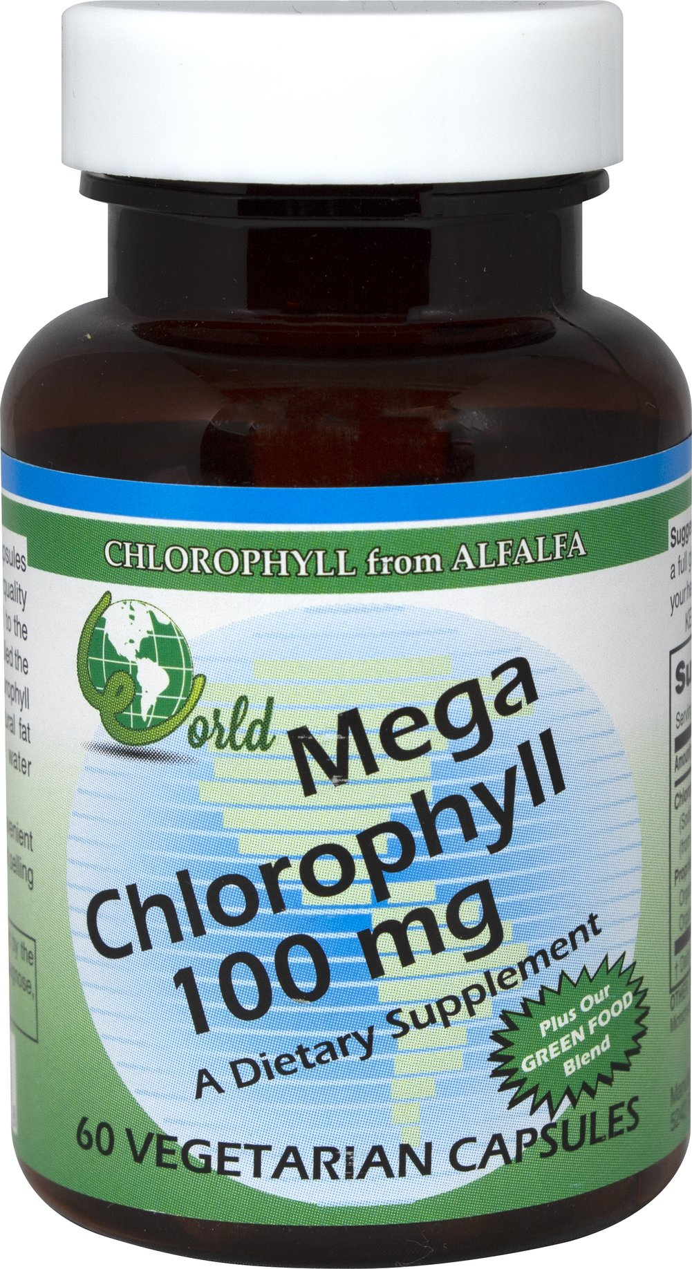 "Mega-Chlorophyll 100 mg <p><strong>From the Manufacturer's Label: </strong></p><p>World Organic Mega Chlorophyll Capsules are derived exclusively from high quality alfalfa leaves. Chlorophyll is essential to the process of photosynthesis…often called the ""building block of life."" Without chlorophyll there is no life. Chlorophyll is a natural fat soluble nutrient which World Organic makes water dispersible for premier results.</p> 60 Capsules 100 mg $8.09"