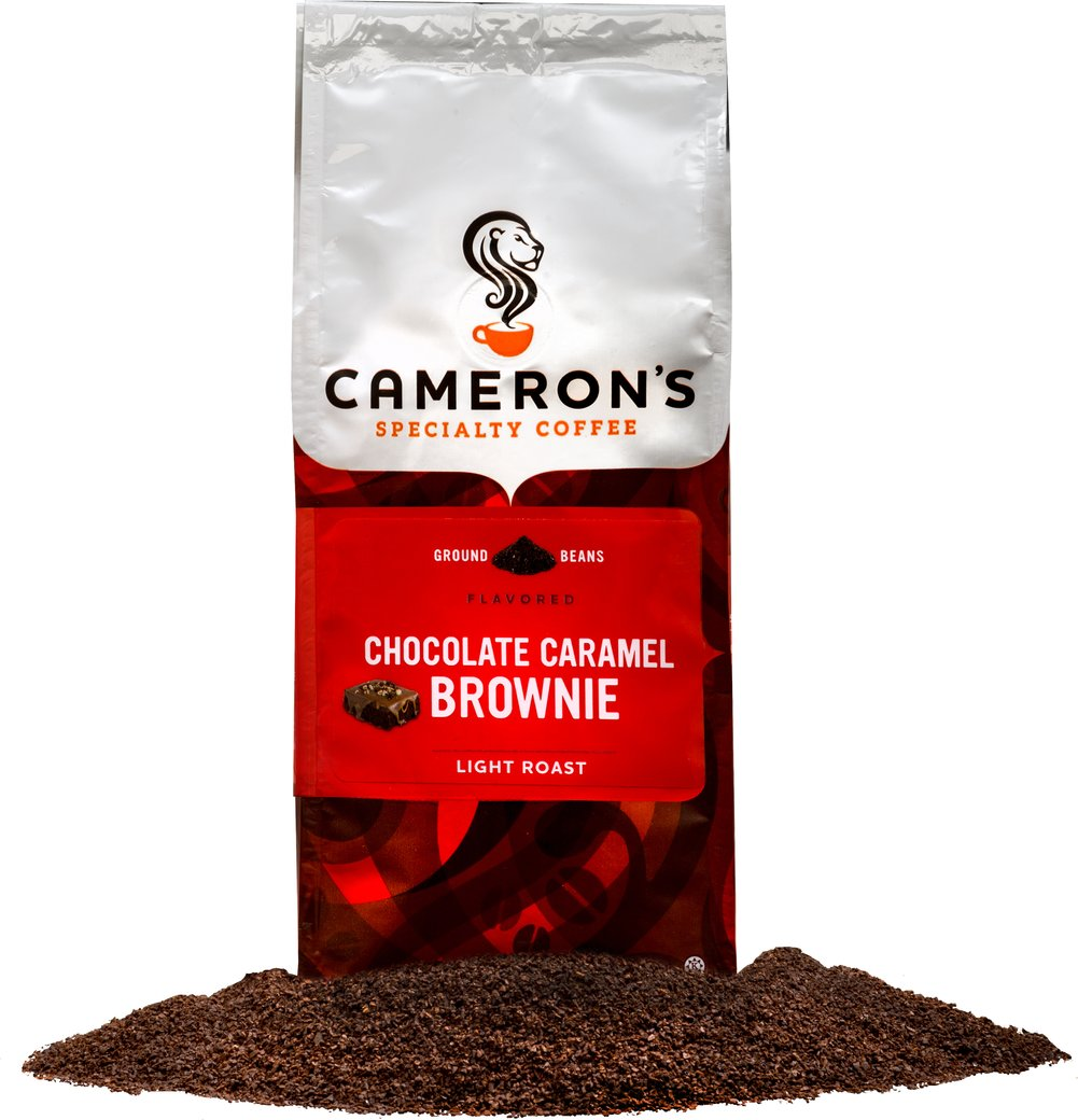 Chocolate Caramel Brownie Ground Coffee <p><strong>From the Manufacturer's Label: </strong></p>Nothing is as extravagant as sipping on a steaming mug of Chocolate Caramel Brownie. Anyone with a sweet tooth will gladly surrender to this luscious blend of smooth chocolate and sweet, succulent caramel. Our Arabica beans are carefully selected from around the world, precisely blended and roasted in small batches, and brought directly to you for the purest, freshest flavor