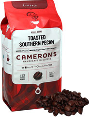 "Toasted Southern Pecan Whole Bean Coffee <p><b>From the Manufacturer's Label: </p></b><p><span class=""bold-text"">Made from 100% Arabica Beans, Kosher</span></p> <p><span class=""bold-text"">Flavor: </span>Creamy, toasty, extravagant pecan flavor.</p> <p><span class=""bold-text"">Taste: </span>Smooth, rich pecan taste that's somewhat buttery, and almost bittersweet.</p&gt"