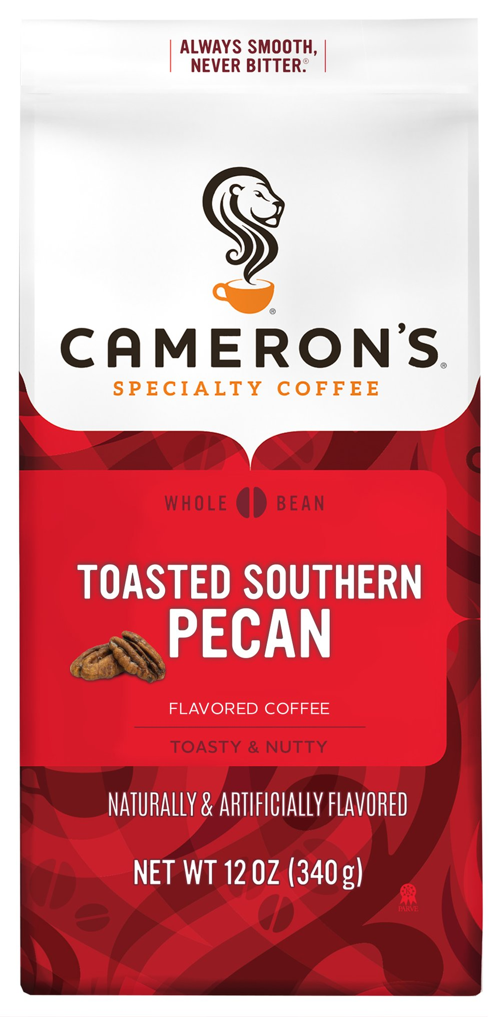 "Toasted Southern Pecan Ground Coffee <p><strong>From the Manufacturer's Label: </strong></p><p><span class=""bold-text"">Made from 100% Arabica Beans, Kosher</span></p><p><span class=""bold-text"">Flavor: </span>Creamy, toasty, extravagant pecan flavor.</p><p><span class=""bold-text"">Taste: </span>Smooth, rich pecan taste that's somewhat buttery, and almost bittersweet.</"