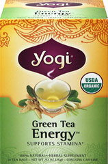 Green Tea Energy <p><strong>From the Manufacturer's Label: </strong></p><p>Get Invigorated with Green Tea Energy!</p><p>Blending herbs that can help promote greater energy and well-being, this special formula contains delicately flavored Organic Green Tea.</p><p>Ginseng Root, Ginseng-Eleuthero Extract, Lemongrass and Spearmint impart crisp, refreshing flavor. Make a cup of Yogi Green Tea Energy part of your daily regimen.</p> 16 Tea